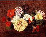 Henri Fantin-Latour Bouquet Of Roses And Nasturtiums painting