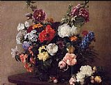 Henri Fantin-Latour Bouquet of Diverse Flowers painting