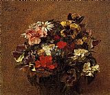 Henri Fantin-Latour Bouquet of Flowers Pansies painting