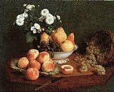 Henri Fantin-Latour Flowers & Fruit on a Table 1865 painting