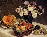 Henri Fantin-Latour Flowers and Fruit a Melon painting