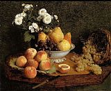 Henri Fantin-Latour Flowers and Fruit on a Table painting