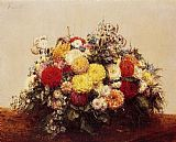 Henri Fantin-Latour Large Vase of Dahlias and Assorted Flowers painting