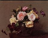 Henri Fantin-Latour Roses and Clematis painting