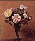 Henri Fantin-Latour Roses in a Vase II painting