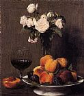 Henri Fantin-Latour Still Life with Roses Fruit and a Glass of Wine painting