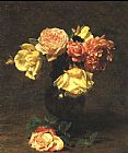 Henri Fantin-Latour White and Pink Roses painting