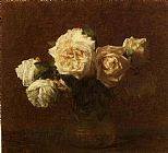 Henri Fantin-Latour Yellow Pink Roses in a Glass Vase painting