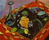 Henri Matisse Dishes and Fruit on a Red and Black Carpet painting