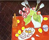 Henri Matisse Tulips and Oysters on Black Background painting