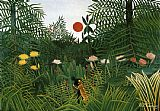 Henri Rousseau Negro Attacked by a Jaguar painting