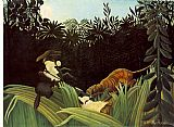 Henri Rousseau Scout Attacked by a Tiger painting