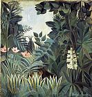 Henri Rousseau The Equatorial Jungle painting