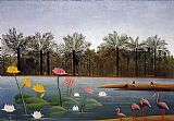 Henri Rousseau The Flamingos painting