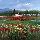 hulsey Paintings - Red Flower Field