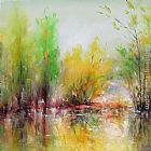autumn gold rush landscape by peter ellenshaw Paintings - Autumn Landscape I
