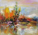 autumn gold rush landscape by peter ellenshaw Paintings - Autumn Landscape