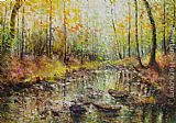 Ioan Popei Leafs on the River painting