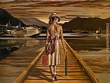 Jack Vettriano lady with luggage painting