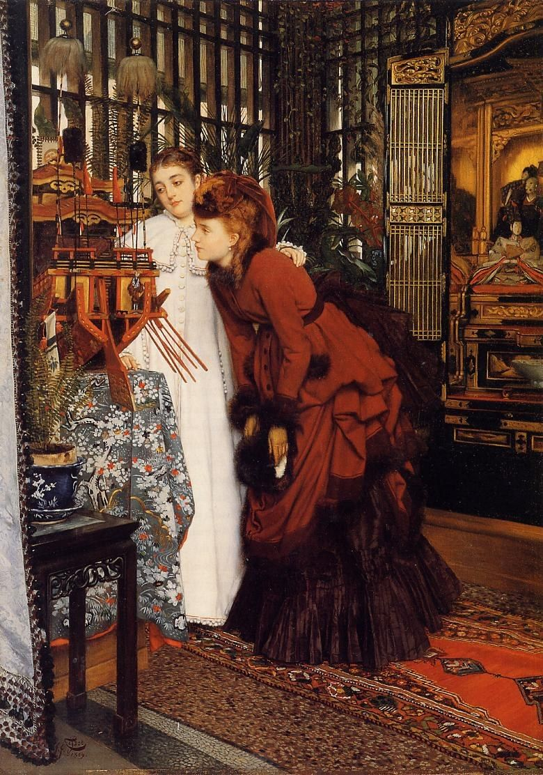 James Jacques Joseph Tissot YOUNG WOMEN LOOKING AT JAPANESE OBJECTS