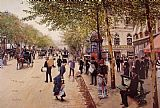 Street paintings - Boulevard des capucines by Jean Beraud