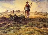 jean francois millet Paintings - A Shepherdess and her Flock