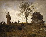 Jean Francois Millet Autumn landscape with a flock of Turkeys painting