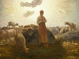 jean francois millet Paintings - Keeper of the Herd