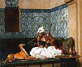 mad dogs Paintings - Arnaut blowing Smoke at the Nose of his Dog