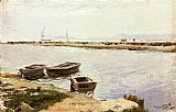 Joaquin Sorolla y Bastida Three Boats By A Shore painting
