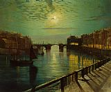 John Atkinson Grimshaw Whitby Harbor by Moonlight painting