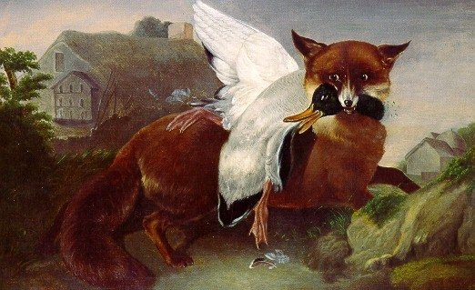 John James Audubon Fox And Goose