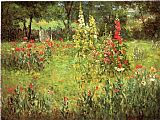 Poppies paintings - Hollyhocks and Poppies The Hermitage by John Ottis Adams