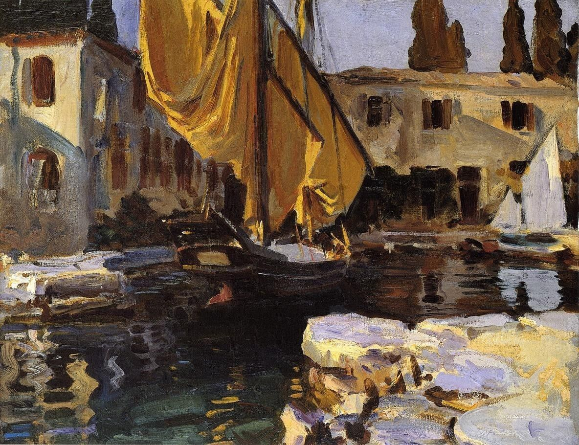 John Singer Sargent Boat with The Golden Sail San Vigilio