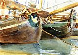 Venice paintings - Boats Venice by John Singer Sargent