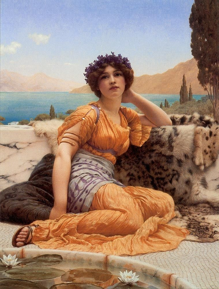 John William Godward With Violets Wreathed and Robe of Saffron Hue