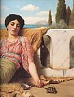 John William Godward A Quiet Pet detail painting