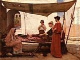 John William Waterhouse A Grecian Flower Market painting