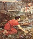 John William Waterhouse Maidens picking Flowers by a Stream Study painting