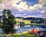 Joseph Kleitsch Bathers along the Seine, Vernon, France painting