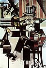 Juan Gris Man in the Cafe painting
