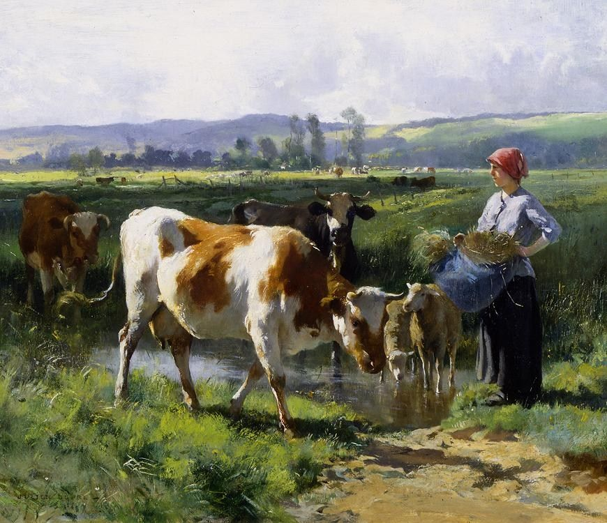 Julien Dupre Milkmaid with Cows