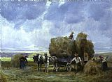 Julien Dupre Harvesters Loading the Cart painting