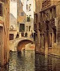 Venice paintings - Venetian Canal by Julius LeBlanc Stewart