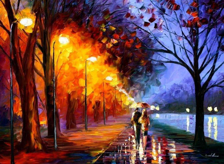 Leonid Afremov Alley by the Lake