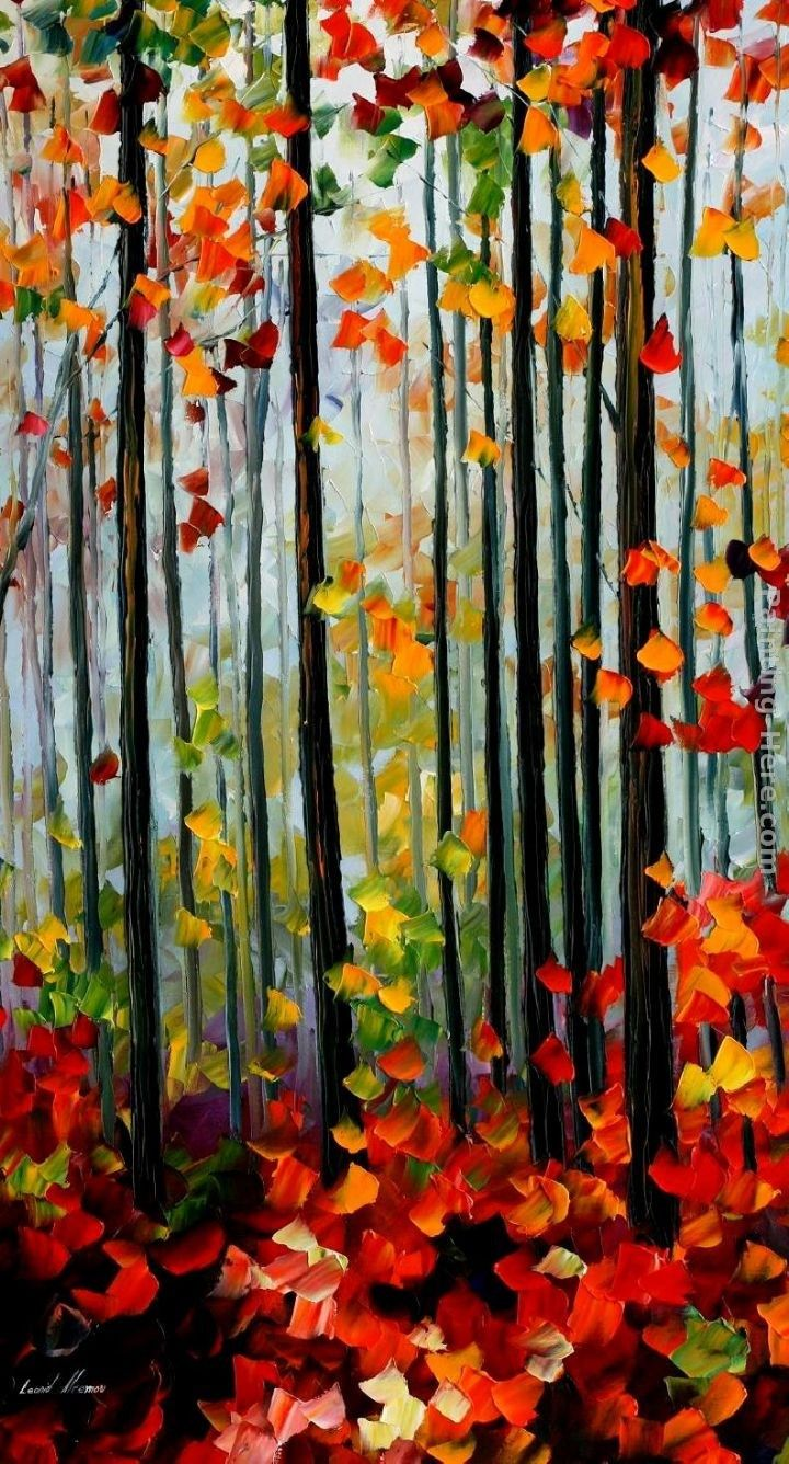 Leonid Afremov FALLING LEAFS IN THE FOREST