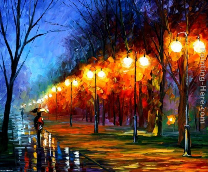 Leonid Afremov FALL,RAIN, ALLEY