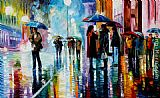 Leonid Afremov BUS STOP - UNDER THE RAIN painting