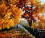Leonid Afremov Blues of Falling Leaves painting