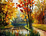 Leonid Afremov FOREST STREAM painting